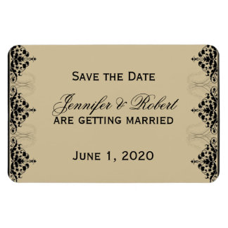 Camelot Gold with Black Wedding Save the Date Rectangular Photo Magnet