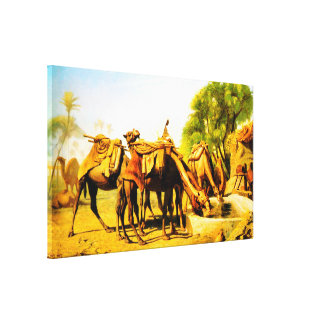 Camels drinking at an oasis canvas print
