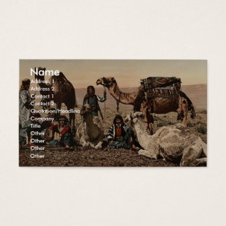 Camels halting in the desert, Holy Land vintage Ph Business Card