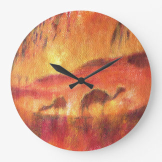 Camels in the desert of Sahara Large Clock