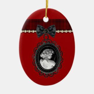 Cameo and Plaid Goth Wedding Keepsake Ceramic Oval Ornament