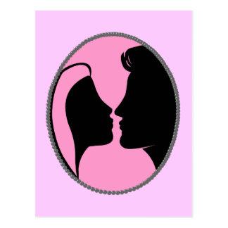 Cameo Kiss Silhouette Postcard
