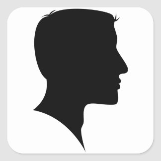 Cameo Silhouette Man Square Sticker