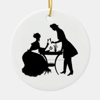 Cameo Victorian Couple Round Ceramic Ornament