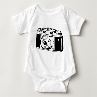 Camera, Black And White Baby Bodysuit