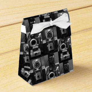 Camera Collage in B&W Tent Favour Box Party Favor Boxes