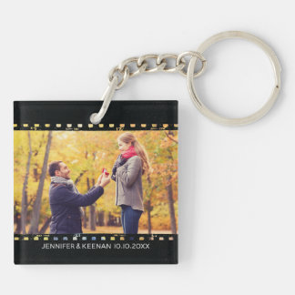 Camera Film Strip Vintage Save The Date Engagement Keychain