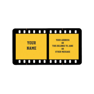 Camera Film Strip Yellow Name Gift Tag Bookplate