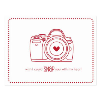 Camera Funny Valentine Postcards Red