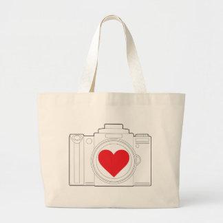 Camera Heart Large Tote Bag