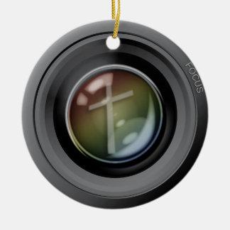 Camera Lens Ornament. Focus on Jesus. Ceramic Ornament