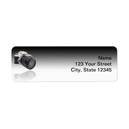 Camera on Black Gradient Return Address Label