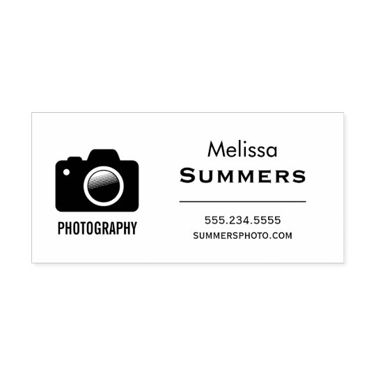 Camera Photography - Photographer Contact Info Rubber Stamp