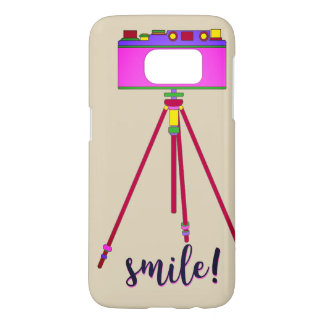 Camera Retro Cartoon Funny Girly Pink Smile Chic Samsung Galaxy S7 Case
