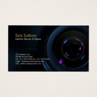 Camera Service & Repair Business Card Camera Lens