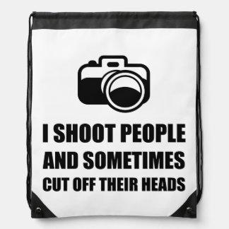 Camera Shoot Cut Head Drawstring Backpack