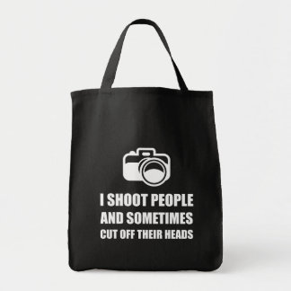 Camera Shoot Cut Head Grocery Tote Bag