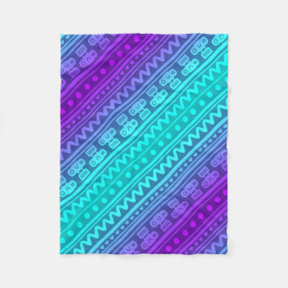 Camera Stripes in Purple & Blue Tones Fleece Blanket