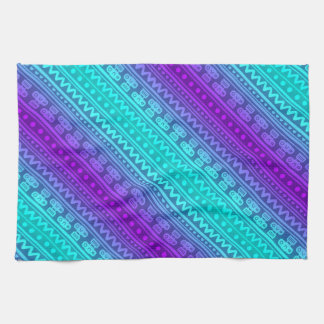 Camera Stripes in Purple & Blue Tones Kitchen Towel