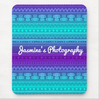 Camera Stripes in Purple & Blue Tones Mouse Pad