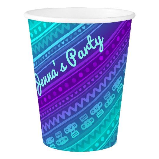 Camera Stripes in Purple & Blue Tones Paper Cup