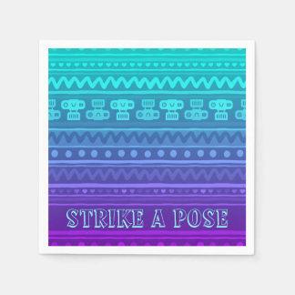 Camera Stripes in Purple & Blue Tones Paper Napkin