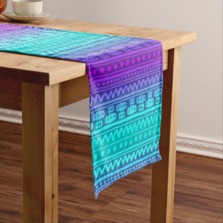 Camera Stripes in Purple & Blue Tones Short Table Runner