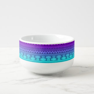Camera Stripes in Purple & Blue Tones Soup Mug