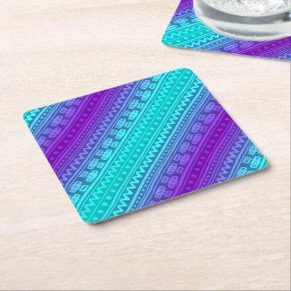 Camera Stripes in Purple & Blue Tones Square Paper Coaster