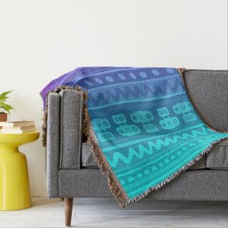 Camera Stripes in Purple & Blue Tones Throw Blanket