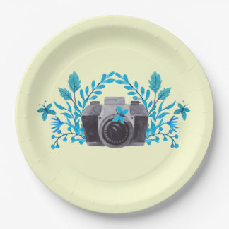 Camera With Azure Blue Leaves And Butterflies 9 Inch Paper Plate