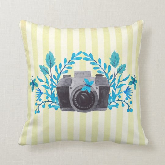 Camera With Azure Blue Leaves And Butterflies Throw Pillow