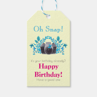 Camera With Blue Leaves And Butterflies Birthday Gift Tags
