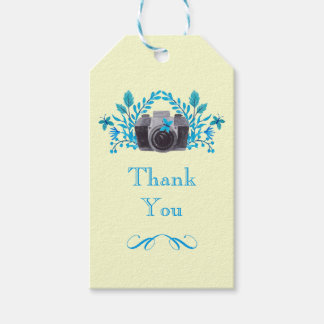 Camera With Blue Leaves And Butterflies Thank You Gift Tags