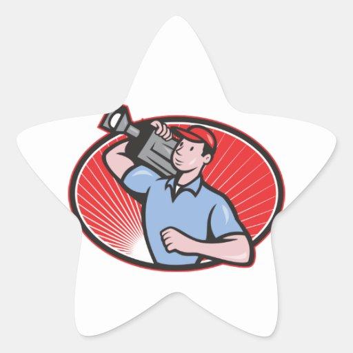 Cameraman Film Crew Carry Camera Star Sticker