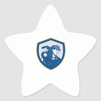 Cameraman Film Crew HD Camera Video Shield Retro Star Stickers