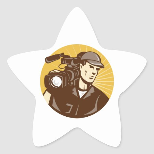 Cameraman Film Crew Pro Video Movie Camera Star Sticker