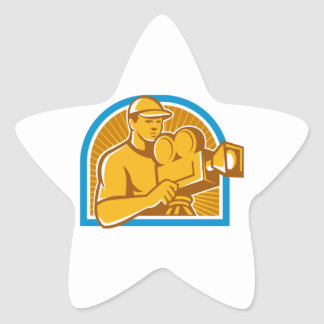 Cameraman Film Crew Vintage Movie Camera Retro Star Sticker