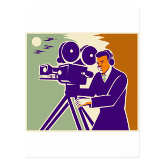 Cameraman Film Crew Vintage Video Movie Camera Postcard