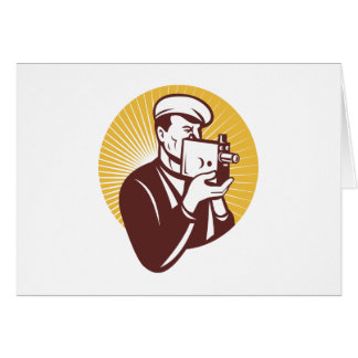 Cameraman vintage video camera shooting card