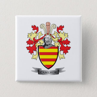 Cameron Family Crest Coat of Arms 2 Inch Square Button