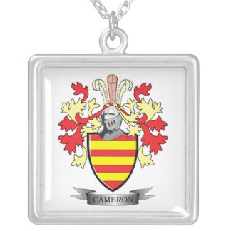 Cameron Family Crest Coat of Arms Silver Plated Necklace
