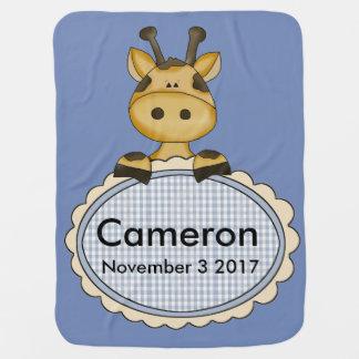 Cameron's Personalized Giraffe Baby Blanket