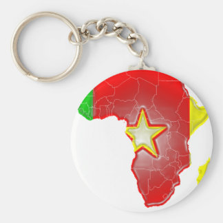 Cameroon Basic Round Button Keychain