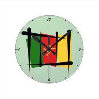Cameroon Brush Flag Wallclock