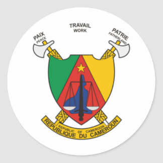 Cameroon coat of arms classic round sticker