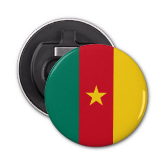 Cameroon Flag Button Bottle Opener