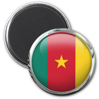 Cameroon Flag Glass Ball 2 Inch Round Magnet