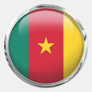 Cameroon Flag Glass Ball Round Sticker