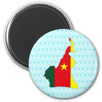 Cameroon Flag Map full size 2 Inch Round Magnet